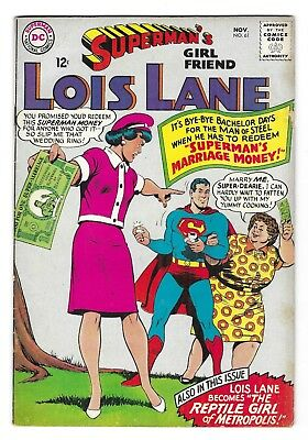 SUPERMAN'S GIRL FRIEND LOIS LANE 61 SILVER AGE DC COMIC BOOK Superman CIRCA 1965