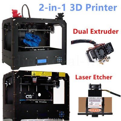 2-in-1 3D Drucker MK8 Dual Extruder PLA/ABS + Laser printing ,Free Shipping DHL
