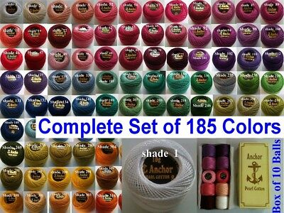 185 ANCHOR Pearl Cotton Crochet Embroidery Thread Balls Size 8 Complete Set   UK