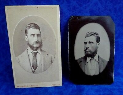 TWO 1880s ANTIQUE PHOTOGRAPHS GENTLEMEN -PHOTOGRAPHER MELBOURNE COMPANY ADELAIDE
