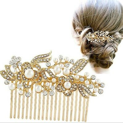 Wedding Bridal Vintage Pearl Crystal Hair Comb Headpiece Swarovski Elements-GOLD