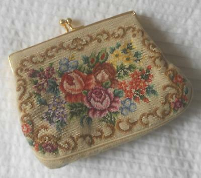 Gorgeous Vintage Hand Worked Petit Point Flowers Tapestry Purse