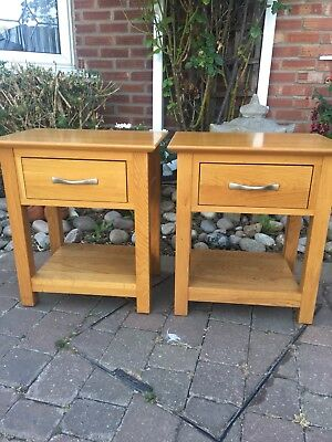A Pair of Solid Oak Bedside Cabinet Tables Solid Wood Lamp Light Tables