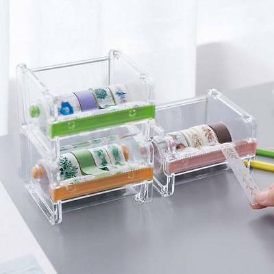 Desktop Tape Dispenser Cutter Roll Holder Mount Clear ABS Fits for Regular Tapes