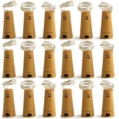 1-10Pack Warm Wine Bottle Cork Shape Lights 20 LED Night Fairy String Light Lamp