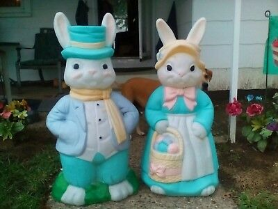 "LARGE Mr .and Mrs Easter Bunny Rabbit Lighted Blow Mold - 35"" EMPIRE  USA  WORK"