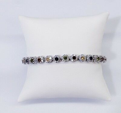 14Kt High Quality White Gold Finish Bracelet Micro-Pave Settings Vs1 Crystals