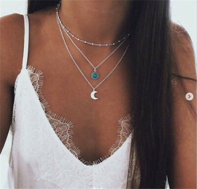 Boho Multilayer Choker Necklace Turquoise Moon Chain Silver Women Summer Jewelry