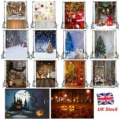 5x7ft Christmas Festival Halloween Photo Pumpkin lantern Backdrop Backgrounds UK
