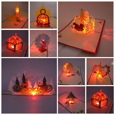 3D Music Light Greeting Cards With Envelope For Wedding Birthday Christmas