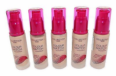 5 x Collection Colour match Foundation  Natural Shade 30ml Bulk Buy Make up NEW
