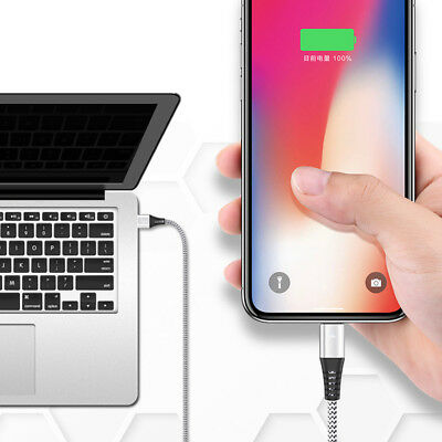 Fast Quick Charging Cable For iPhone 7 8 X Braided LED Data Sync Lightning Cable
