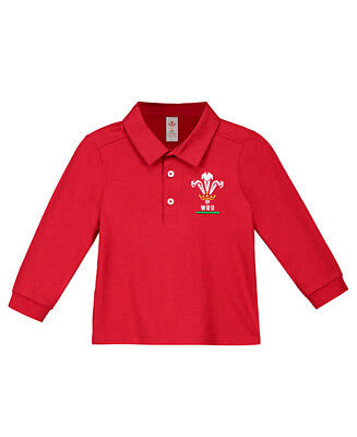 Official Wales WRU Rugby Baby/Toddler Long Sleeved Shirt | Red | 2018/19 season