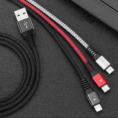 New 2.4A LED Braided Cable Lightning+USB Data Sync Fast Quick Charging Cable