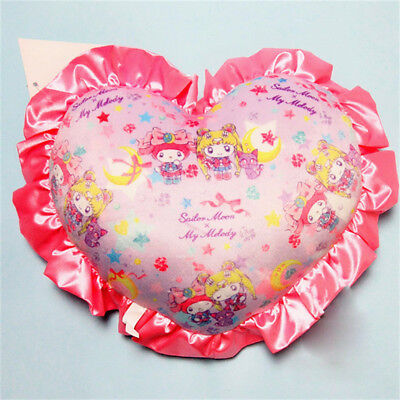 Sailor Moon × My Melody Limited Luna Plush Cushion Pillow Heart Shaped Gift New