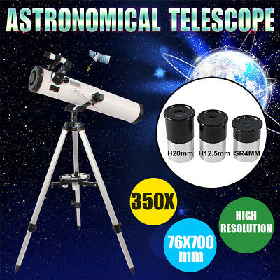 76*700mm Reflector Night Vision Astronomical Telescope HD High Resolution 350X