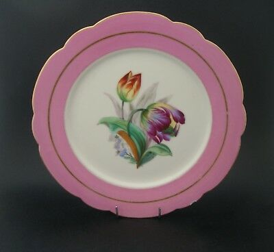Antique PINK PORCELAIN CAKE PLATE Display Dessert Hand Painted TULIPS Flowers