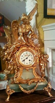Antique French Mantle Clock by Mougin deax Medalles circa 1860/80, just serviced
