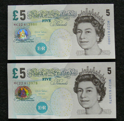 2 x Banknote  5  Pfund GROSSBRITANIEN / Banknote Bank of England