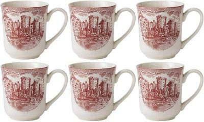 JOHNSON BROS OLD BRITAIN CASTLES PINK 6 x COFFEE MUGS - NEW/UNUSED