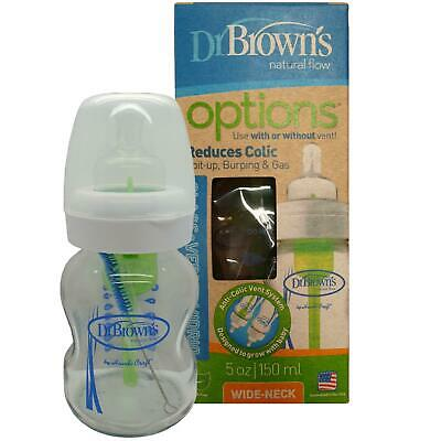Dr Brown's Options Wide Neck Reduces Colic Glass Bottle 150 ml