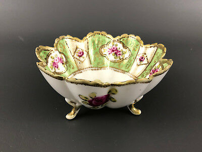 NIPPON porcelain nut dish, hand painted Japan green maple leaf 1891-1906