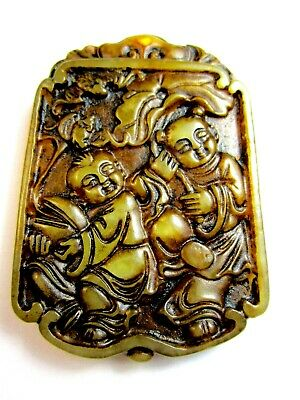 Vintage Chinese Carved Jade Pendant / Amulet.. Men & A Boy