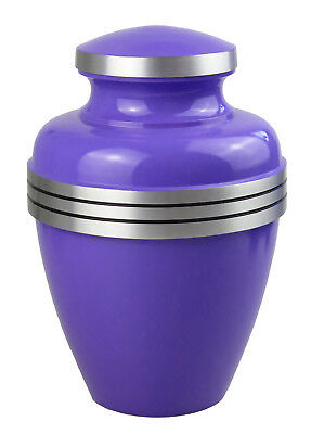 Large Aluminium Classic Purple & Silver Urn Adult Ash Cremains Funeral Memorial