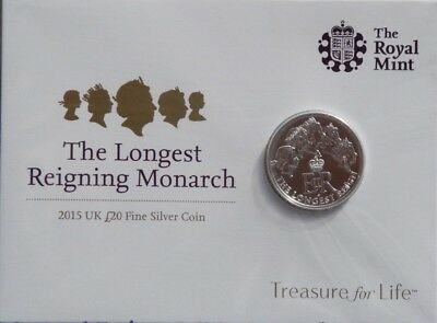The Royal Mint Brilliant Uncirculated 2015 Uk £20 Fine Silver Coin