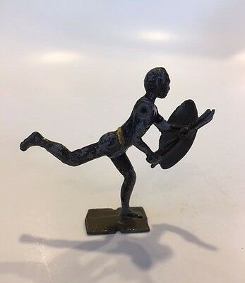 Antique Vintage Toy Indian or African Warrior Arm Rotates Die Cast Metal