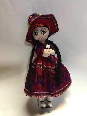 Souvenir Doll with Baby Vintage Collectible FOREIGN LANDS HANDMADE 10 INCHES