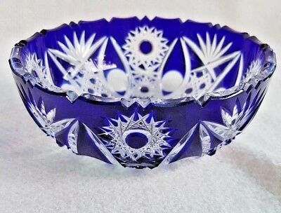 Unique Blue White Heavy 24% Lead Crystal Bowl Hungarian Bargain Hand Made XMAS