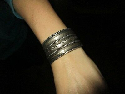 Antique Native American Indian Navajo Jewelry Old Pawn Silver Wide Cuff Bracelet