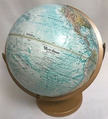 """VTG Replogle 12"""" World Nation Globe Metal Table Stand Raised Geography 16"""" TALL"""