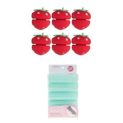 6 Pcs Lovely Straberry Sponge Ball Roller&10x Hairstyling Curler Lady&Girls