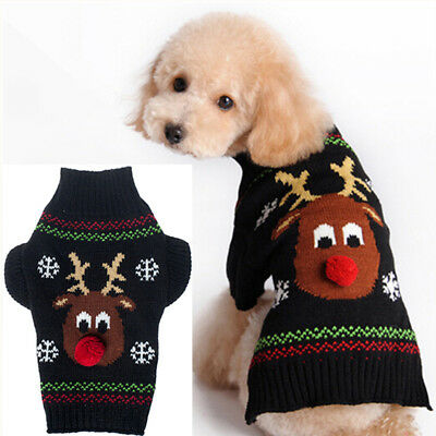 Pet Dog Christmas Reindeer Knit Sweater Clothes Shirt Puppy Cat Pullover Costume