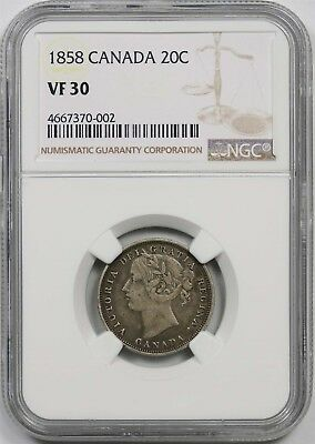 1858 Canada Silver 20 Cents 20C VF 30 NGC