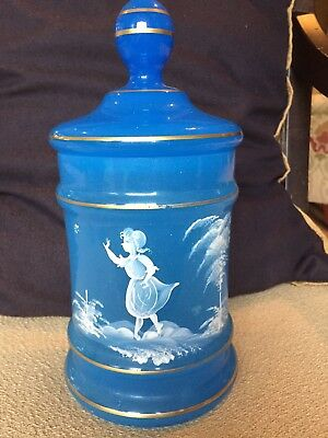 Mary Gregory Blue Lidded Biscuit Jar - Nice Painted Scene - West Germany