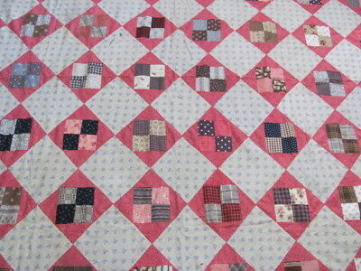 Antique early 1900's Squares in a Square quilt top hand stitched never laundered