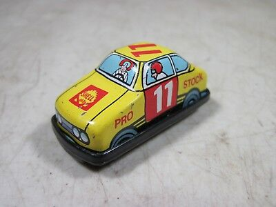 Vintage Micro Mini Tin Litho Friction Toy Shell Gas/Oil Pro Stock Car Hong Kong