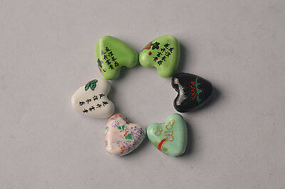 5pc 14.5mm Heart Shape Ceramic Porcelain Flower Script Charms Loose Beads