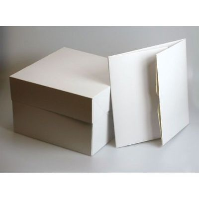 """GB HIGH QUALITY WHITE CAKE BOX & LIDS 8"""",10"""",12"""",14"""" & 16"""" Inch (Pack of 5 & 10)"""