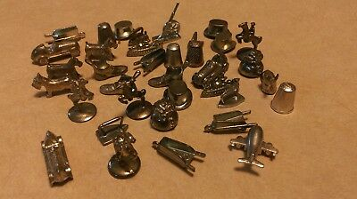 Lot of 36 Vintage Monopoly Pieces// Metal Game Pieces Cars Dogs Airplane Shoes