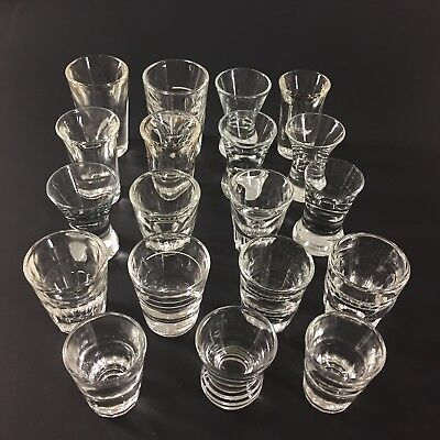Vintage Heavy Base Thick Clear Shot Bar Glasses Assorted Mixed Lot of 19
