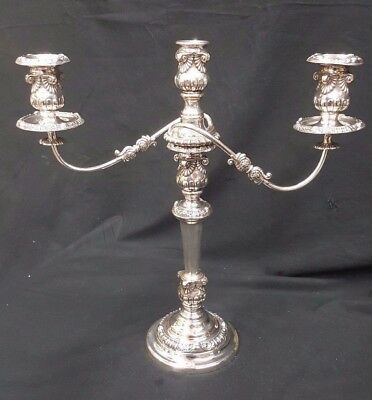 Tall Ornate Candelabra Two Swirl Arm Triple Candlestick With Removable Top