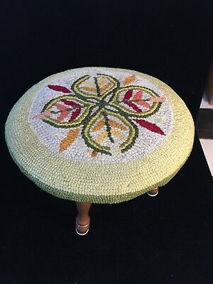 Mid Century Foot Stool Hand Hooked Rug Cover - Wonderful Folkart