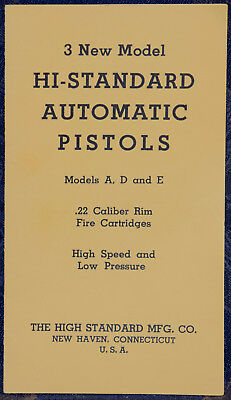 Vintage 3 New Model HIGH-STANDARD Automatic PISTOLS Models A,D,E .22 Cal BOOKLET