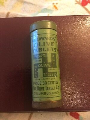 Vintage Dr. Edwards Olive Tablets Tin EXCELLENT CONDITION w/ old antique buttons