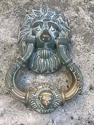 Antique Solid Brass Large Lions Head Door Knocker Heavy