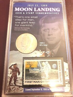 Moon Landing Coin & Stamp Commemoratives July 21, 1969 Stamp And Coin 40% Silver